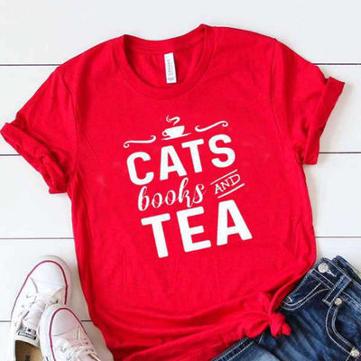 T Shirt Citation Cats Books Tea