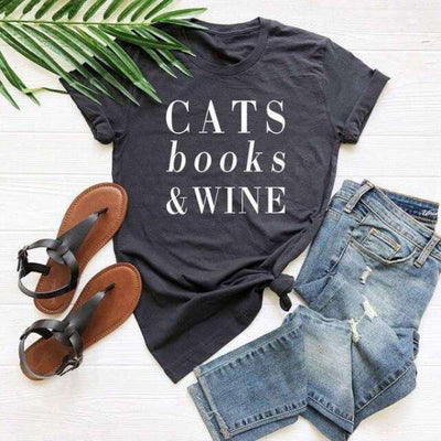 T-Shirt Femme Cats Books Wine