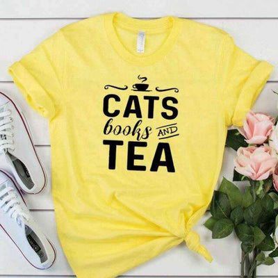 T-Shirt Citation<br /> Cats Books & Tea