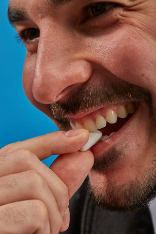 Mouth Off dissolving gum gets rid of bad breath by removing the cause - bad breath molecules.