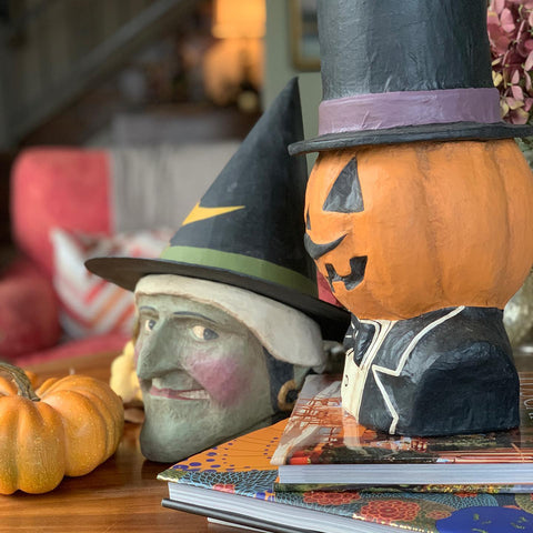 Witch and Jack Pumpkin Dandy ready for Halloween Parties this fall