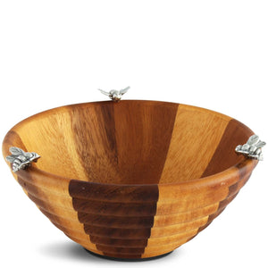 Honey Bee Hive Pewter + Wooden Small Individual Bowl | Dip Bowl
