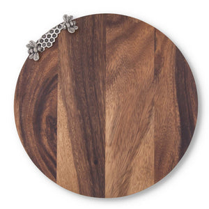 Honey Bee Hive Pewter + Wooden Cheese Snack Board Tray