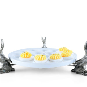 Pewter Trio Rabbit Deviled Egg Holder | Timothy De Clue Collection