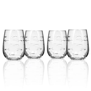 School of Fish Stemless Wine - Set of 4