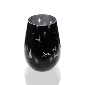 Cheers Deer Modern Stemless Pair Eggnog Glasses | Wine | Votive | Cocktail Tumbler