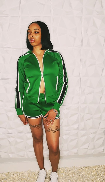 Green Apple | Shorts and Zip-Up Top Set