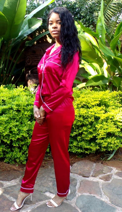 Evening Casual in Red | Silk Pants Set