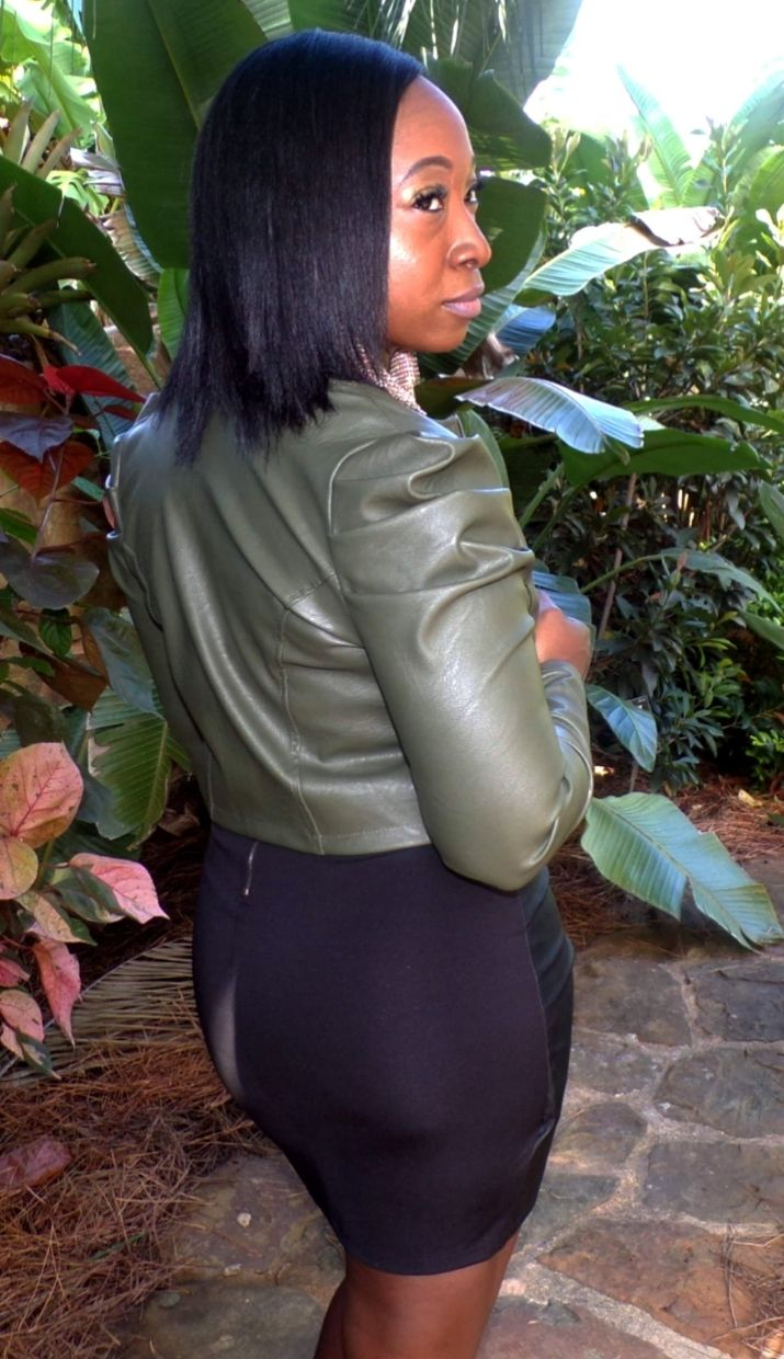 Kamala | Faux Leather Jacket in Olive