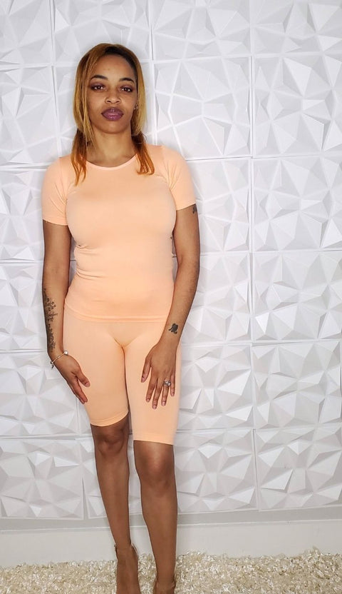 Aubry | Coral Biker Short Set