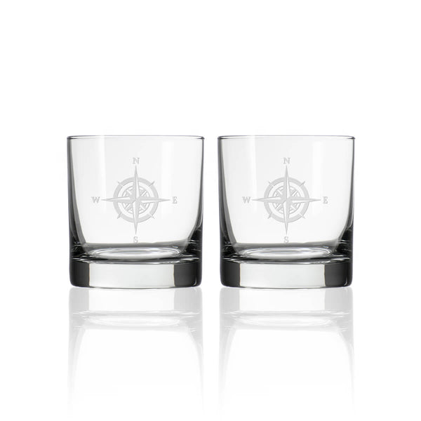 Rolf Glass Compass Rose 3 Piece Gift Set | Whiskey Decanter and Rocks Glasses