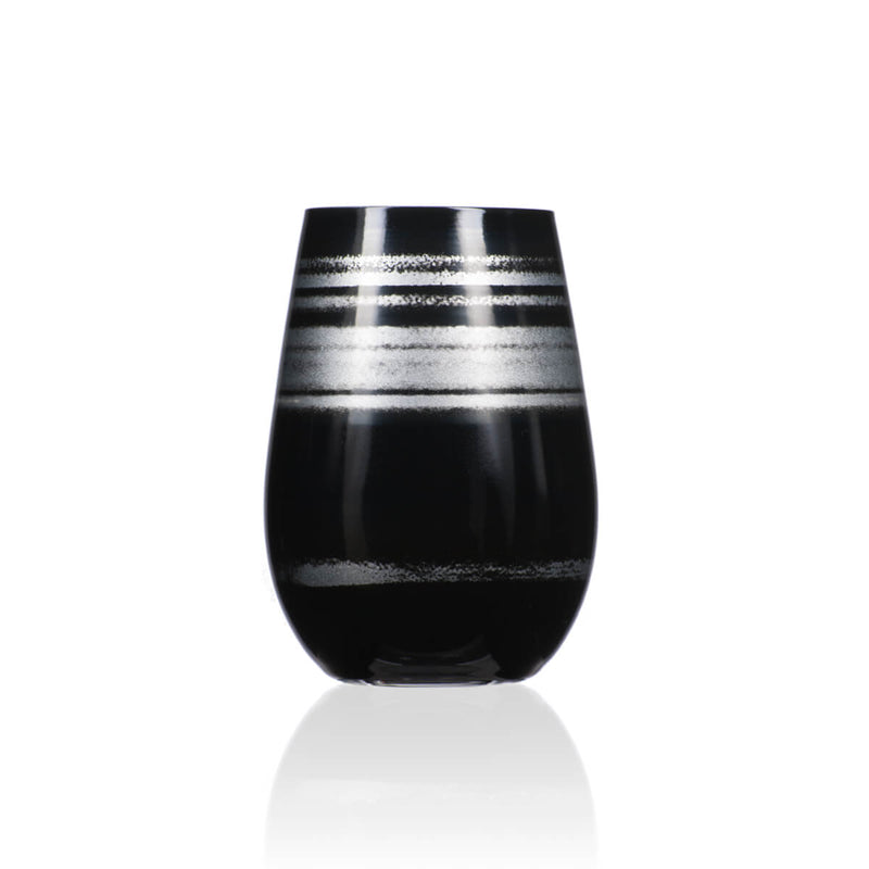 Rolf Glass Cosmo Black and Silver 16.5oz Stemless Wine Tumbler