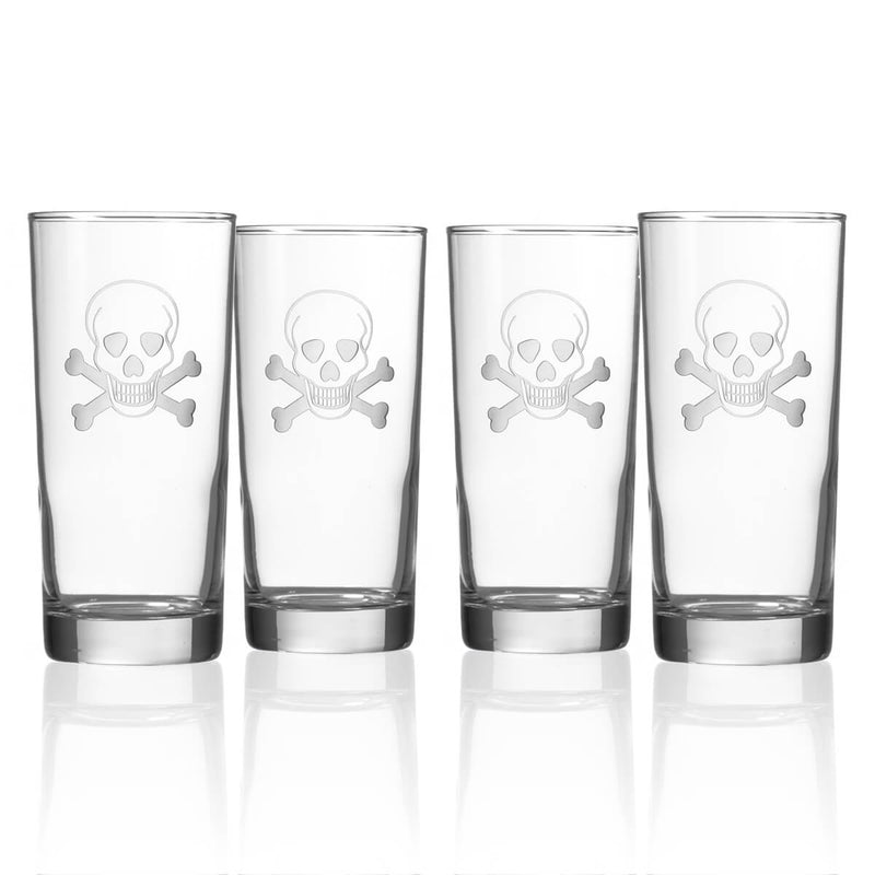 Rolf Glass Skull and Cross Bones 15oz Cooler Highball