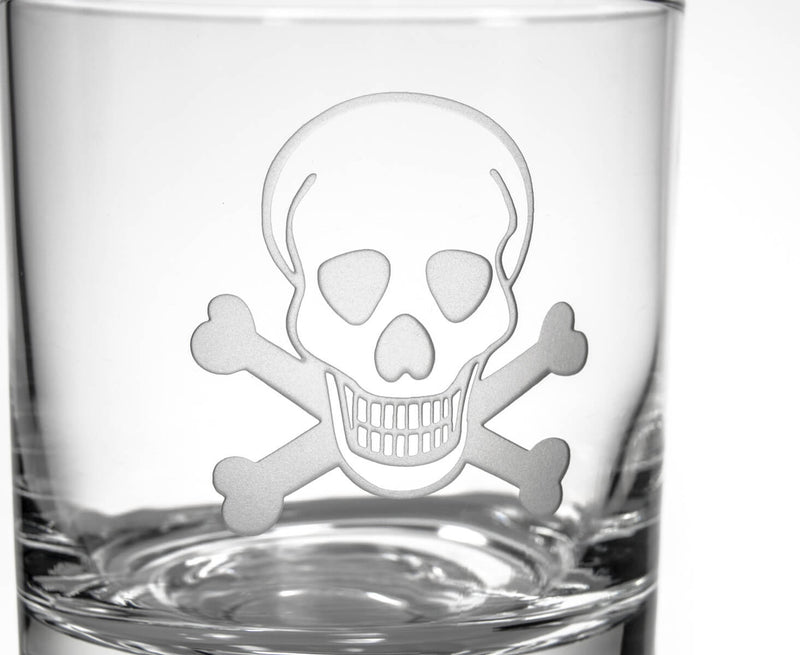 Rolf Glass Skull and Cross Bones 14oz Double Old Fashioned