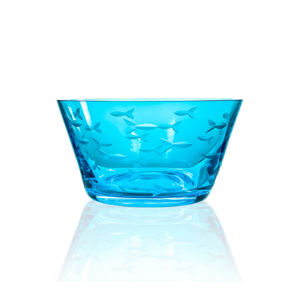 "Rolf Glass School of Fish Blue 6"" Small Bowl"
