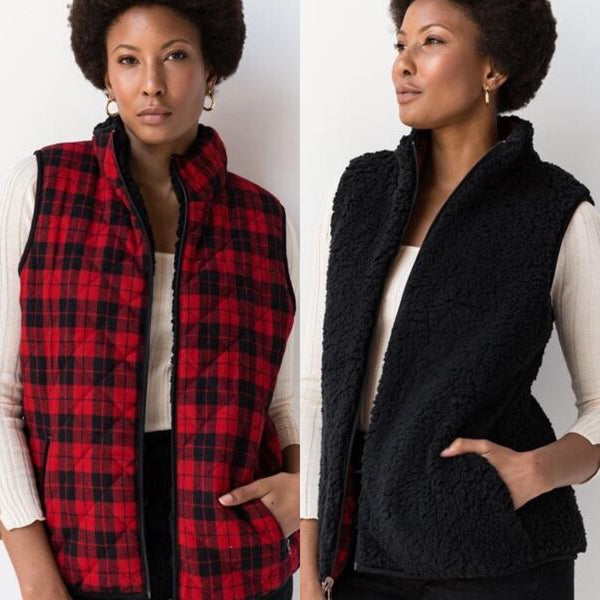 Reversible Sherpa Plaid Vest - XL