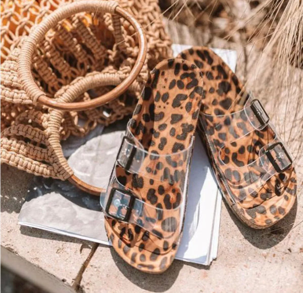 Leopard Clear Strap Sandals - 5.5, 6, 6.5, 7.5
