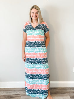 Striped Tie Dye Maxi Dress - Small