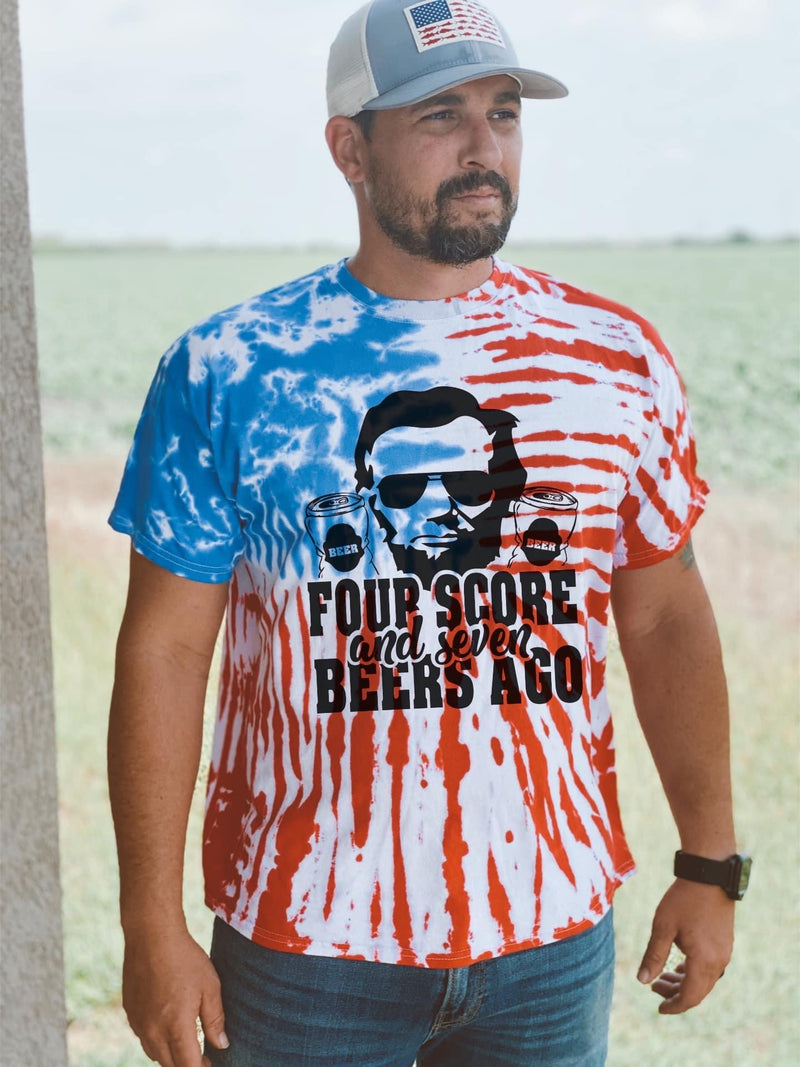 PREORDER: Four Score And Seven Beers Ago Patriotic Flag Tee
