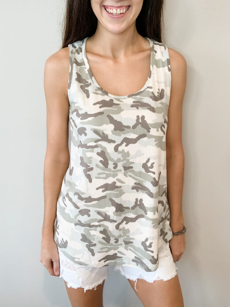 Camo Ribbed Tank Top