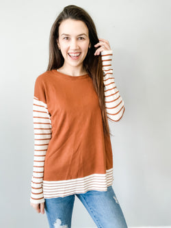 On The Horizon Striped Long Sleeve Top - Small