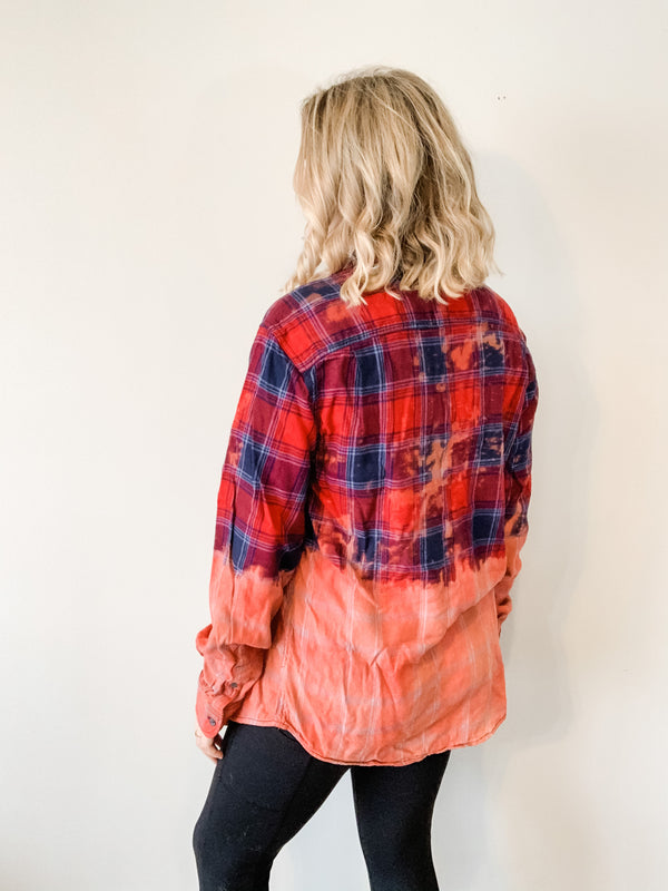 Bleached Flannel Shirt, Large