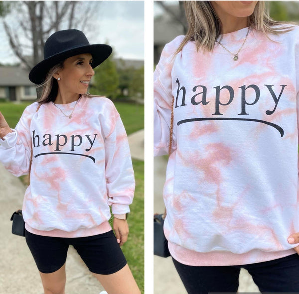 PREORDER: Rose Gold Happy Tee, Sweatshirt