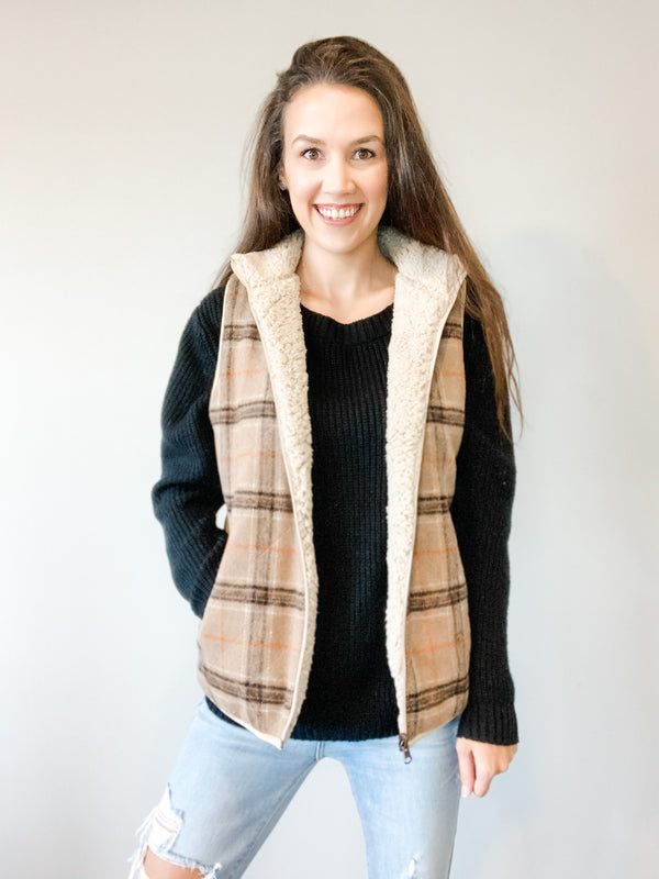 Reversible Sherpa Plaid Vest - Small
