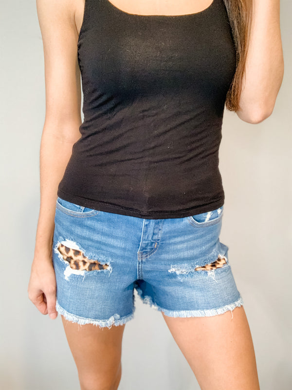 Judy Blue Distressed Leopard Patch Shorts