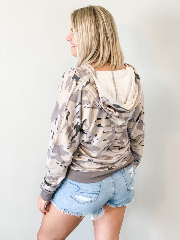 At Ease Camo Athleisure Hoodie - Small