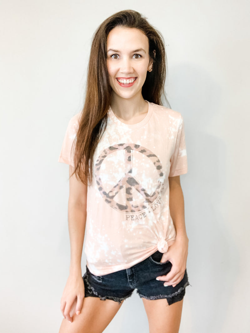 Leopard Peace, Love All Tie Dye Tee - Small