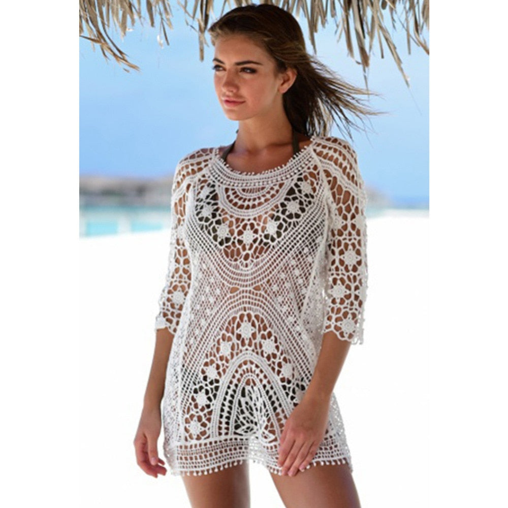 Lace White Transparent Cover Up