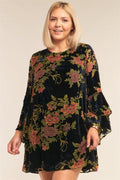Plus Size Velvet Floral Mini Dress
