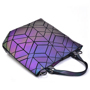 NEW Maelove Luminous bag Fashion Geometric handbag Diamond Tote Quilted Shoulder Bags Laser Plain Folding tote hologram bag - latiendademoda