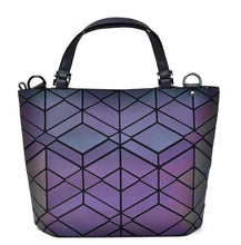 Cargar imagen en el visor de la galería, NEW Maelove Luminous bag Fashion Geometric handbag Diamond Tote Quilted Shoulder Bags Laser Plain Folding tote hologram bag - latiendademoda