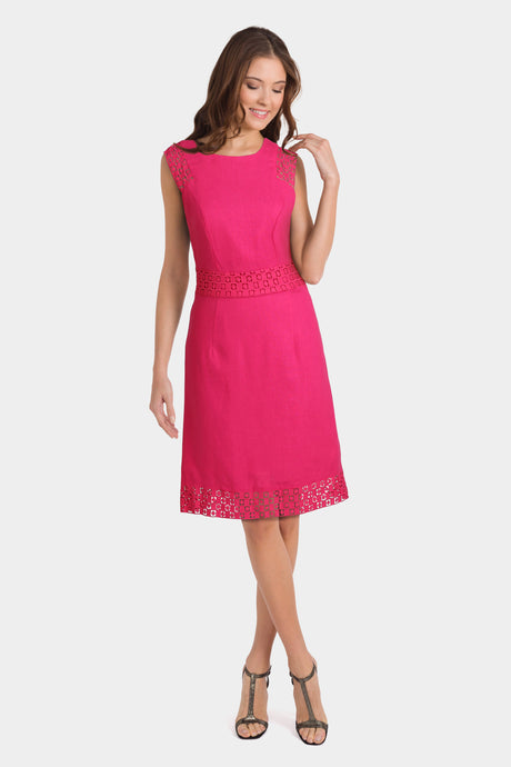 Pink Lace Linen Blend Knee Length Shift Dress