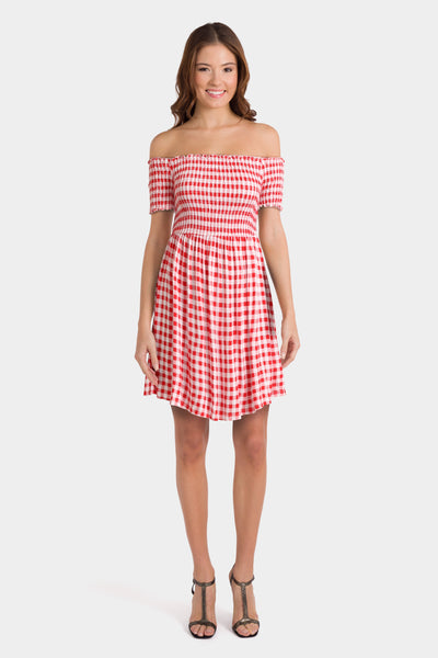 ASOS Off Shoulder Sundress With Shirring In Gingham