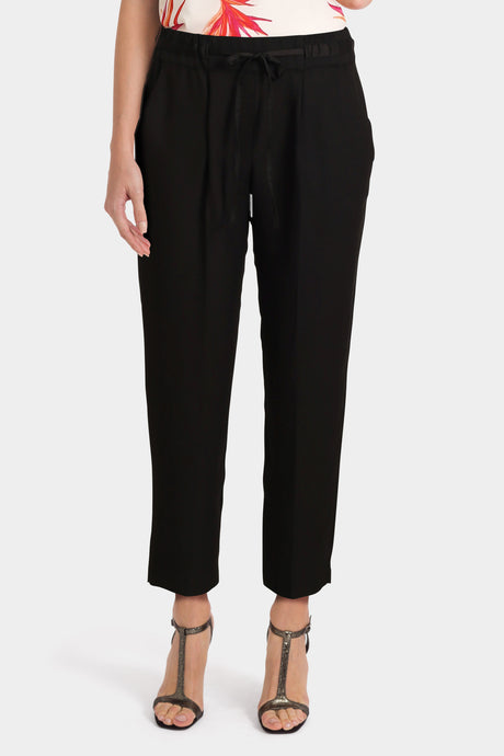 Black Wide Leg Satin Trousers
