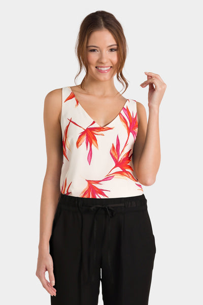 Ivory floral print camisole top