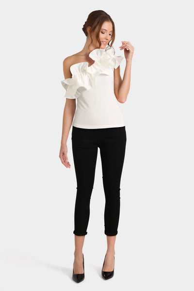 White Ruffle Top & Black Jeans