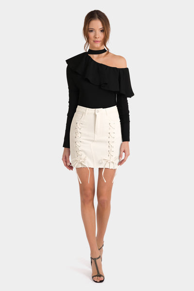 Black Choker Top & White Lace-up Skirt