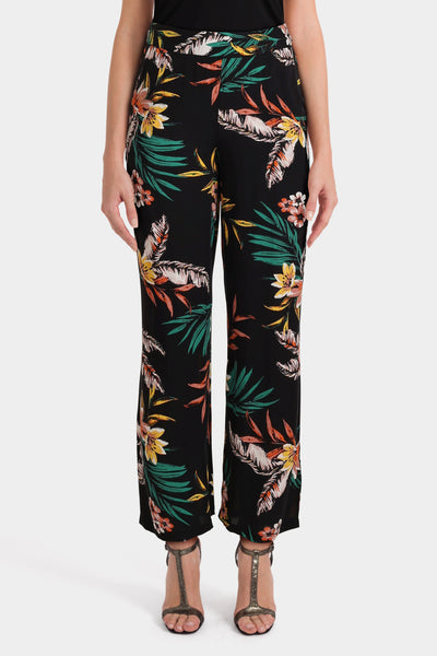 Multi-coloured floral print trousers