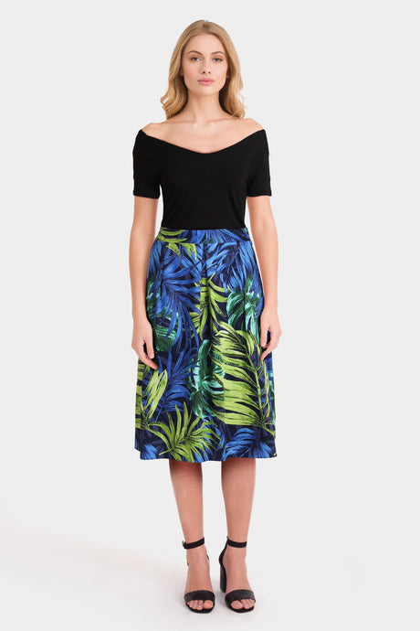 Black Bardot Top & Print Skirt