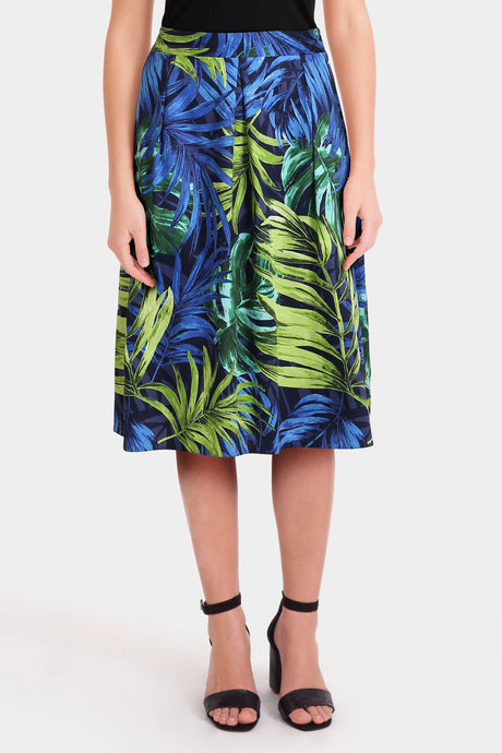Blue Palm Leaf Print Prom Skirt