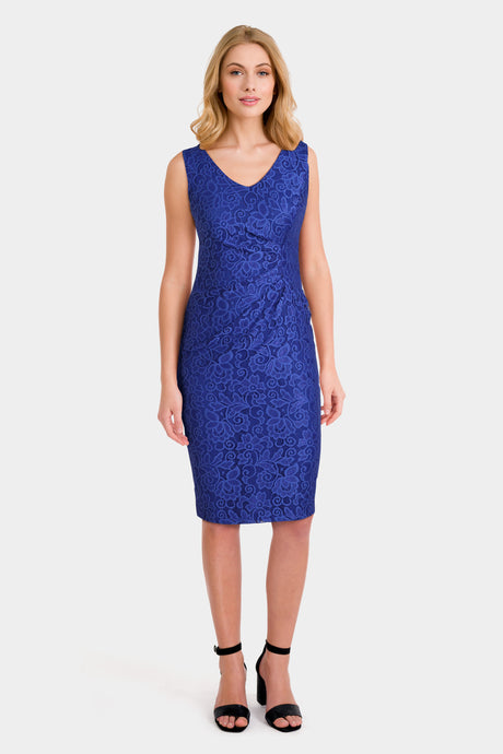 Bright Blue Floral Lace Petite Dress