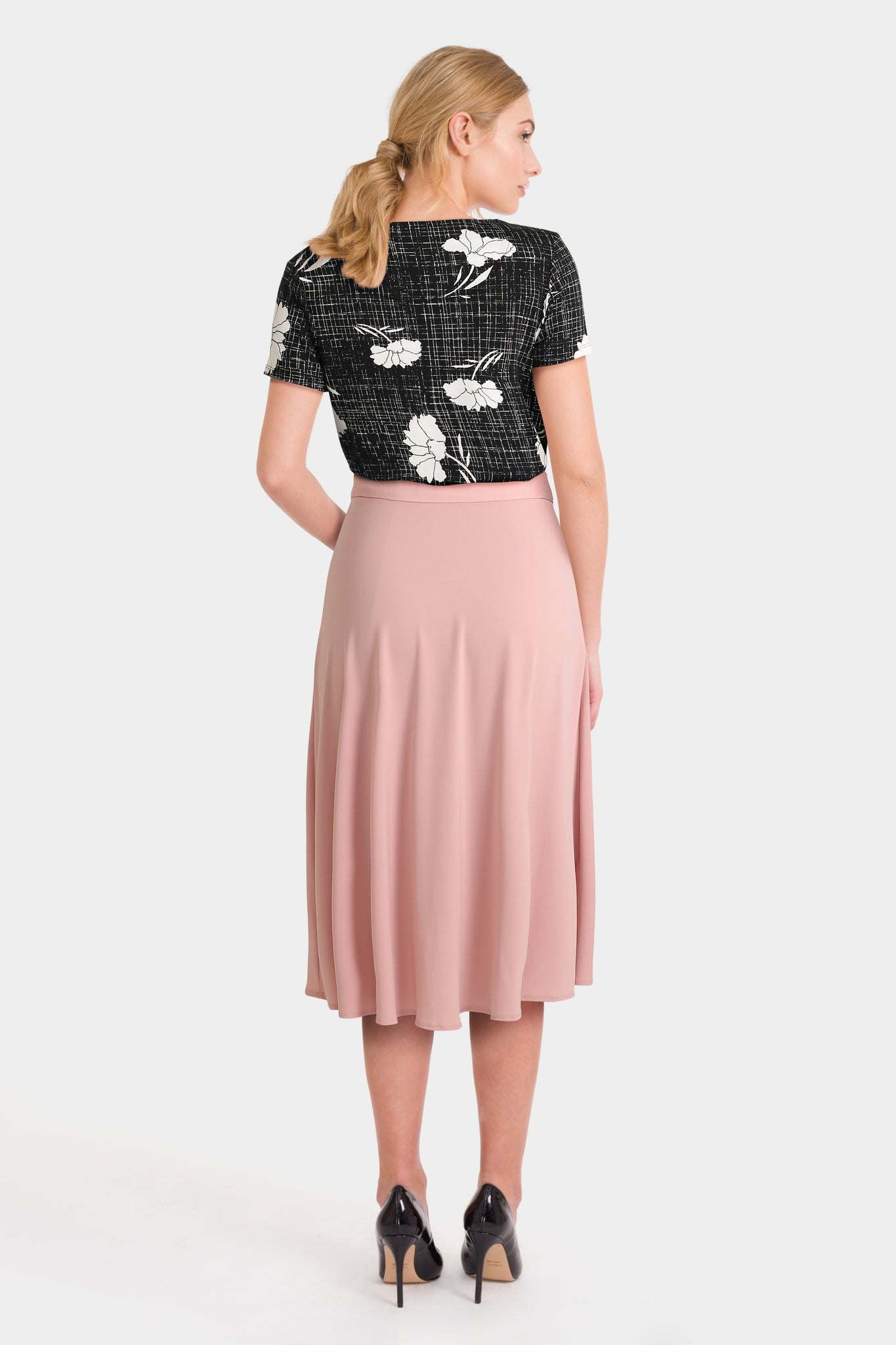Black Floral Print Top & Pink Wrap Midi Skirt