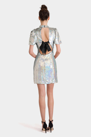 Asos 80's Sleeve Sequin Iridescent Bow Back Mini Dress