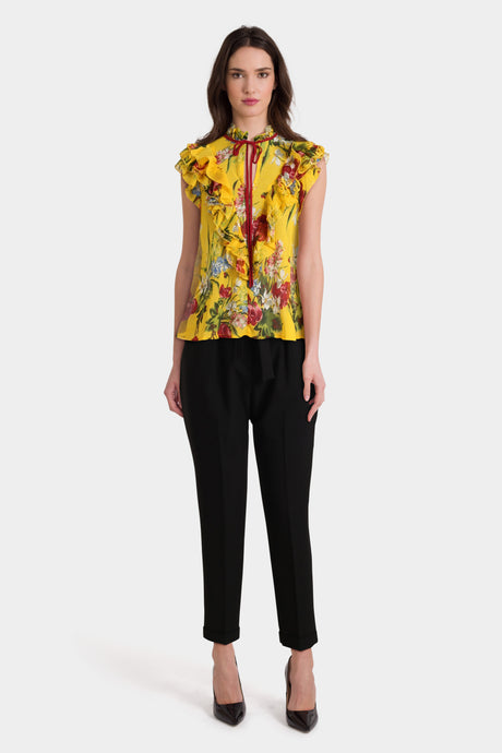 Floral Sleeveless Blouse & Black Trousers