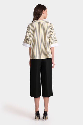 Yellow Stripe Shirt & Black Trousers