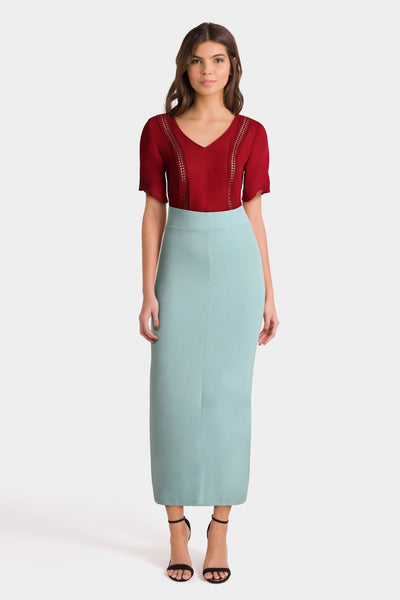 Red Top & Long Mint Skirt